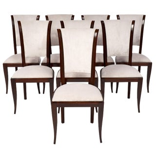 Set of Eight French Art Deco Velvet Dining Chairs