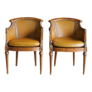 Vintage Century Chairs Leather French Regency Arm Chairs - A Pair