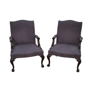 Hickory Chair Mahogany Chippendale Library Arm Chairs - Pair