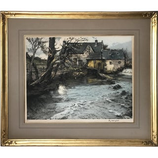 Early 20th Century French Etching of a Mill