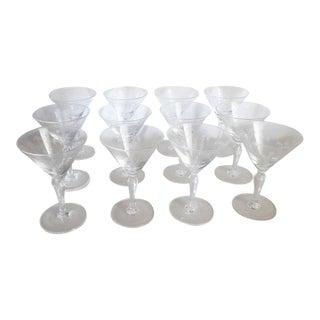Vintage 1950s Noritake Sasaki Crystal Martini Glasses - Set of 12