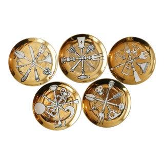 Fornasetti Milano Posateria Gold Coasters - Set of 5