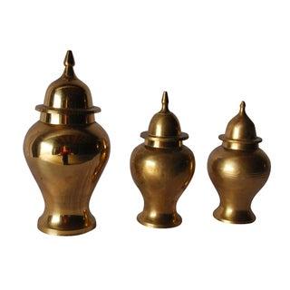 Collectible Brass Ginger Jar Urns - Set of 3