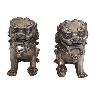 Silver Foo Dog Statues - Pair