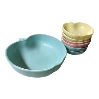 1960's Hazel-Atlas Milk Glass Apple Bowls - Set of 7