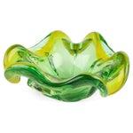 Image of Lemon & Green Ruffled Murano Bowl