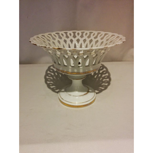 Image of Antique Parisian White Porcelain Fruit Basket