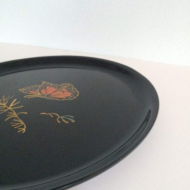 Couroc Vintage Black Butterfly Tray - Image 4 of 7