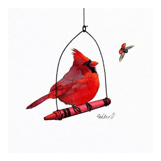 Premium giclee print of red cardinal and crayon the same.