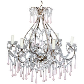 Pink Opaline Crystal Beaded Chandelier