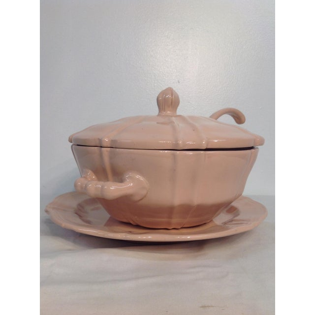 Pink 1920s Soup Tureen With Lid And Ladle - Image 7 of 8