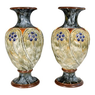 1903-05 Royal Doulton Marbled Pottery Vases - a Pair