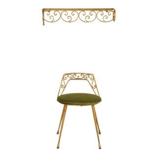 Elegant 1940s Italian Gilt Dressing Stool with Back and Velvet Seat