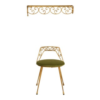 Elegant 1940s Italian Gilt Dressing Stool with Back and Velvet Seat