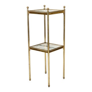 Mid Century Italian Neoclassic Marble and Brass Tiered Side Table