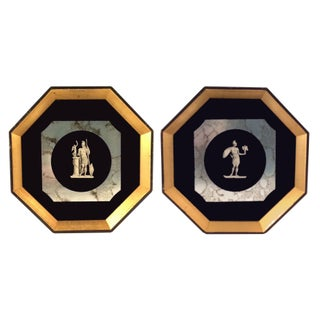 Greek Pictures In Octagon Gilt Frames - A Pair