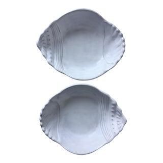 "2 Vietri 10"" Italian Faience Shell Bowls"