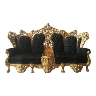 Italian Rococo Black Leather Three Seater Sofa Settee