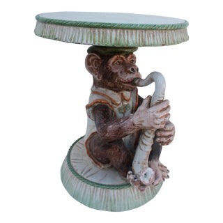 Italian Monkey Ceramic Side Table