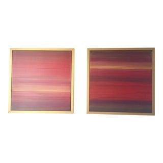 Pair of Sunrise and Sunset Original Karen Adams Paintings