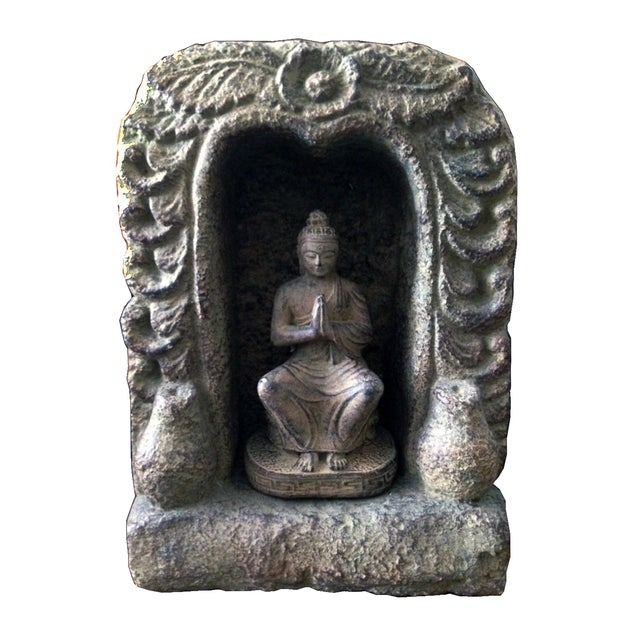 Caved Praying Buddha Statue - Image 1 of 2