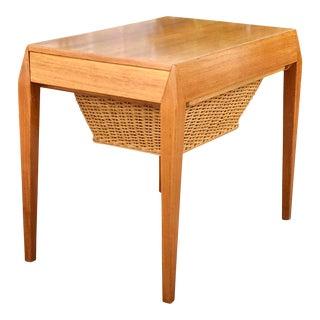 Vintage Teak & Wicker Side Table