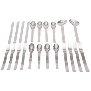 Set of Stainless Steel Y.Kono Vignelli for Sasaki 4 Place Tableware Plus