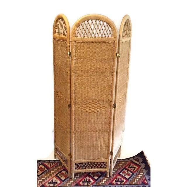 Image of Vintage Wicker Rattan Folding Screen Room Divider