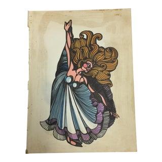 1980s Vintage Dancing Woman Ink Drawing
