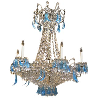 French Directoire Style Iron and Crystal Chandelier
