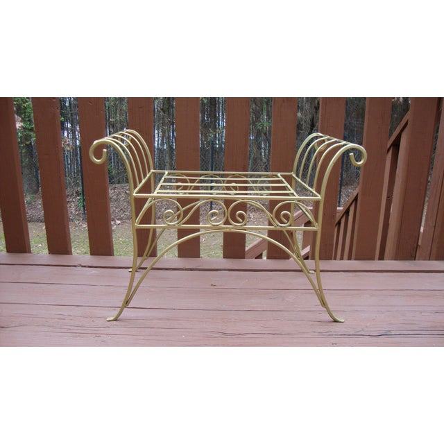 Metal French Art Deco Scroll Bench in Gold Tone - Image 2 of 11