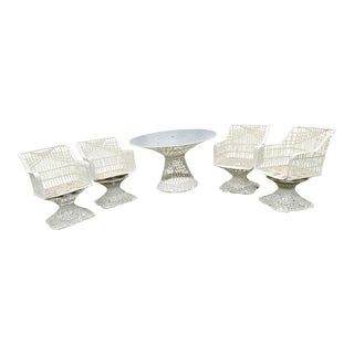 Russell Woodard Spun Swivel Fiberglass Style Chair Table Patio Set