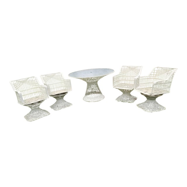 Russell Woodard Spun Swivel Fiberglass Style Chair Table Patio Set - Image 1 of 11