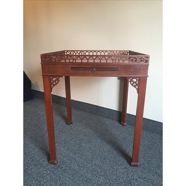 Chippendale-Style Wood Side Table - Image 2 of 7
