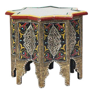 Handmade Moroccan Star-Styled Table with Glass Top