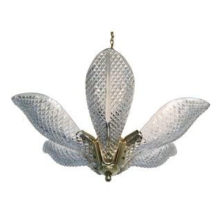 1970s Cut Glass & Brass Lotus Chandelier