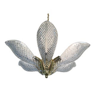1970s Cut Glass & Brass Lotus Chandelier