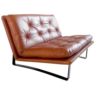 Loveseat by Kho Liang Ie in Cognac Leather for Artifort, the Netherlands, 1968