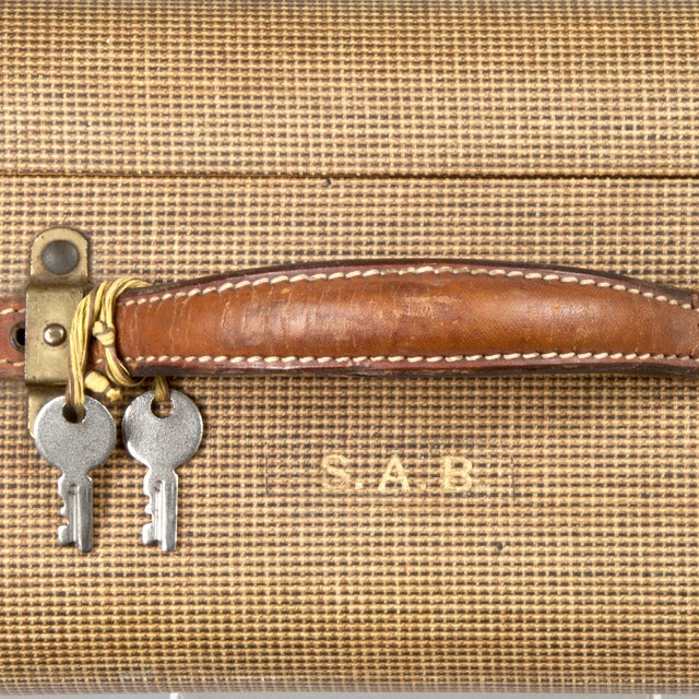 Vintage Fabric & Leather Suitcase - Image 5 of 5
