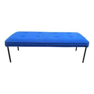 Low Blue Mid-Century Bench