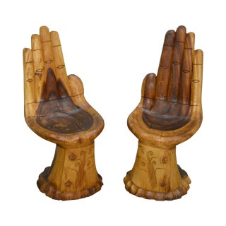 Mid Century Pair of Carved Hand Childs Chairs after Pedro Friedeberg