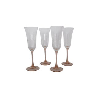 Pink Glass Champagne Flutes - Set of Four
