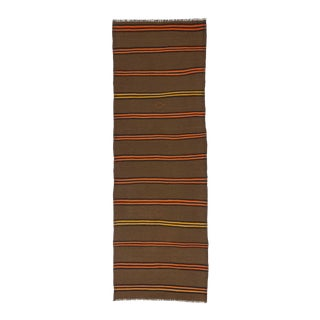 Vintage Orange & Yellow Striped Kilim Runner Rug - 3′2″ × 9′2″