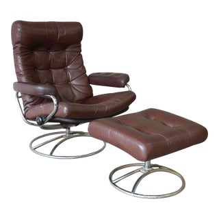 Vintage Brown Leather Ekornes Stressless Lounge Chair & Ottoman