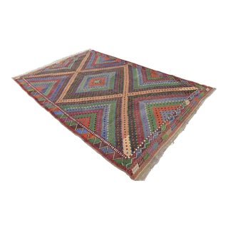 Hand Woven Turkish Oushak Kilim Cotton Rug - 6′3″ × 9′10″