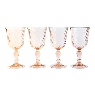 Vintage French Blush Goblets - Set of 4