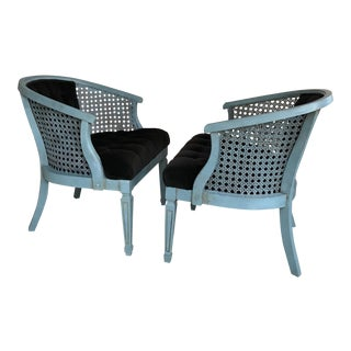 Turquoise & Black Caned Arm Barrel Chairs - A Pair