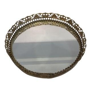 Gold Vintage Round Mirror Tray