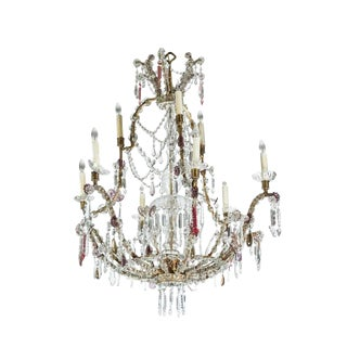 1900's, Cut Crystal, Sicilian Chandelier