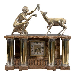 Art Deco Bronze Nude Figure Onyx Clock